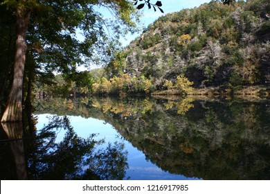 Reflections in the Mountain Fork River  at Beavers Bend State Park in Broken Bow Oklahoma.