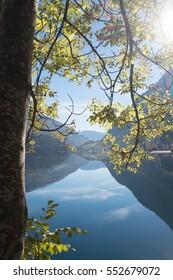 Reflections on alpine lake