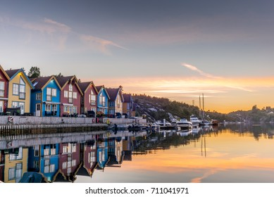 Reflections on the sea in the fjord of Bergen in Norway