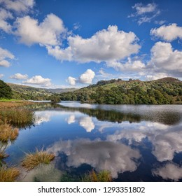 Reflections in Rydal Water, Lake District National Park, Cumbria, England, UK