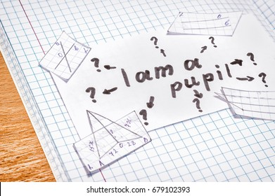 Reflections of a schoolboy on a sheet of paper an inscription in English I am a pupil of an arrow leading to question marks mean that how many new and unknown things are to be learned