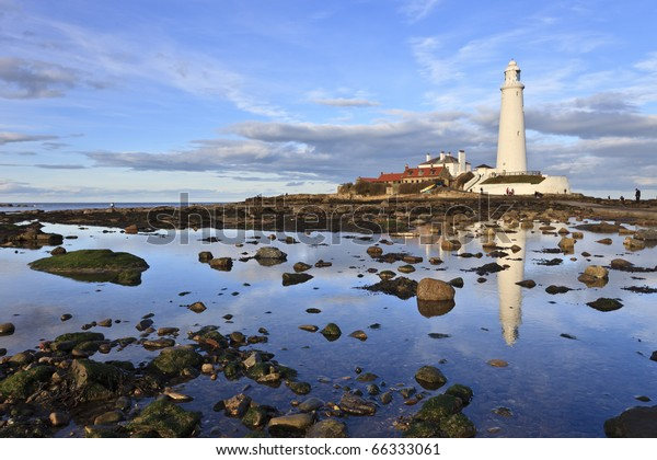 Reflections of St Mary's Lighthouse near Whitley Bay in Northumberland