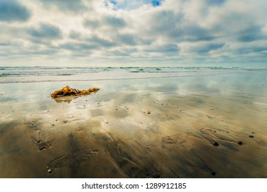 Reflections of a sunny cloud filled sky over the pacific ocean in san diego, california, united states.