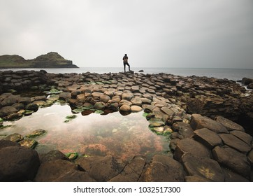 Reflections in the tide pools of the Giant's Causeway of Northern Ireland