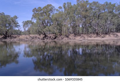 the reflections of timber on the bank of the murrumbidgee river in the water of a half filled river on a sunny day with clouds in the sky