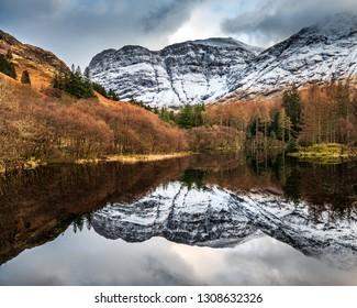 Reflections in Torren Lochan in Glencoe, Scotland