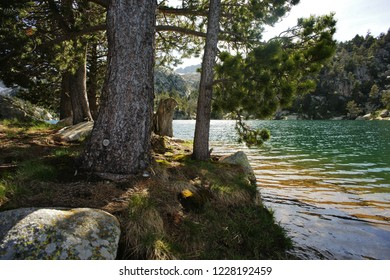Reflections in the Tort de Peguera lake, a few meters from the J. M. Blanc refuge, Aiguestortes, Pyrenees, Lleida, Catalonia