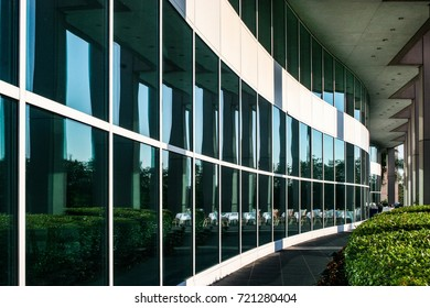 Reflections in the windows of a building