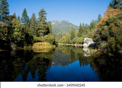 Reflective lake in Idyllwild, CA.