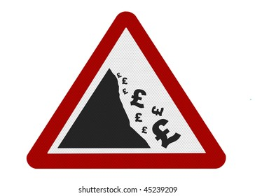 A reflective metallic sign depicting falling currency (UK), isolated on a pure white background.