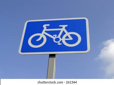Reflective Sign Indicating Cycle Path
