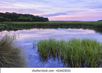 Reflective South Carolina Lowcountry Marsh Scene at Sunset in the ACE Basin