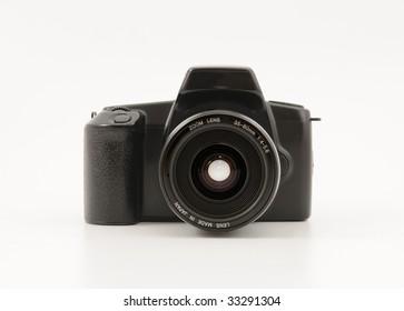 Reflex analog photo camera - front view