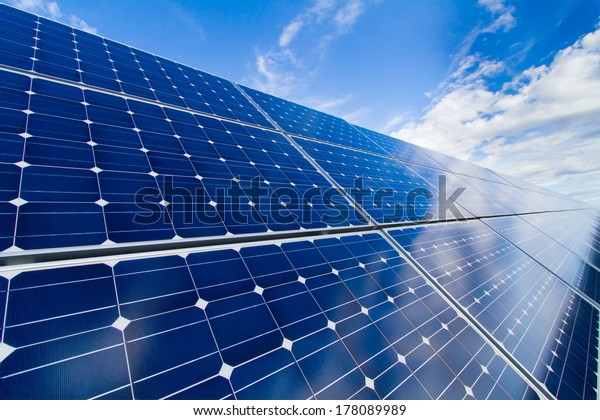 Reflexion of the sky on the photovoltaic modules