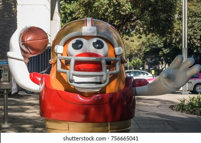 REFORMA AVENUE, MEXICO CITY - NOVEMBER, 13 2017. On the occasion of the match between Patriots and Raiders at the Aztec Stadium, the NFL organized the Ball Parade with 42 large-format pieces.