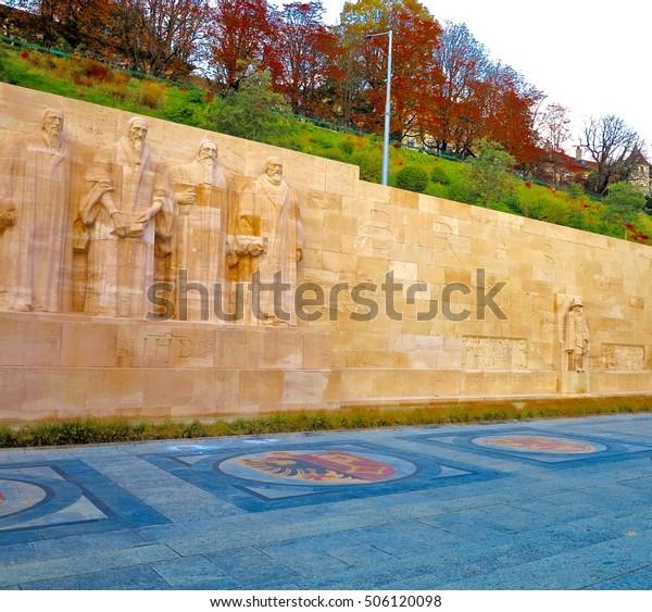 Reformation wall in Geneva Switzerland.