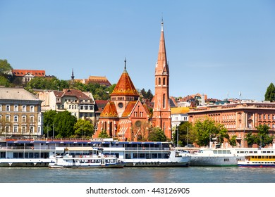 Reformed Church (Calvinist Church), the largest Protestant church seen from the Danube river, in Budapest, Hungary on 22 April 2016