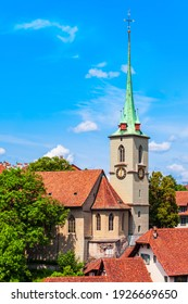 Reformed Nydeggkirche church and Aare river aerial panoramic view in the Old City of Bern in Switzerland