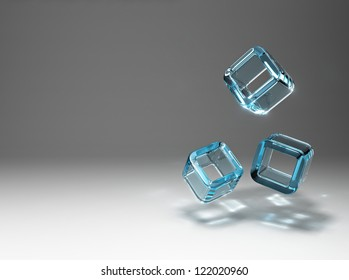 The refraction of light in the falling cubes of glass.