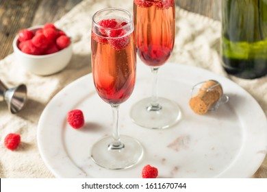 Refreshing Alcoholic Kir Royale with Champagne Raspberries