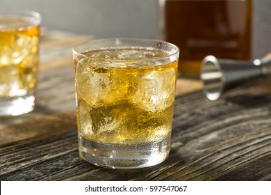 Refreshing Alcoholic Scotch and Soda Cocktail with Ice