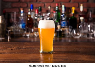 Refreshing Amber Craft Beer on a Bar