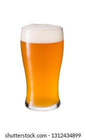 Refreshing Amber Craft Beer on White with a Clipping Path