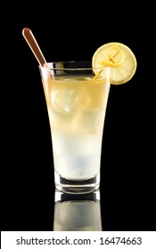 Refreshing arnold palmer beverage isolated on a black background