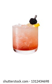Refreshing Blackberry Gin Bramble on White with a Clipping Path