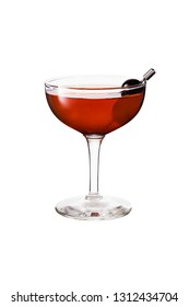 Refreshing Bourbon Manhattan Cocktail on White with a Clipping Path