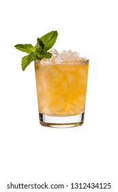 Refreshing Bourbon Mint Julep Cocktail on on White with a Clipping Path