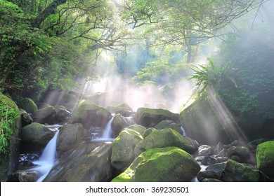 Refreshing cascades in a mysterious forest with sunbeams shining through the misty air in lavish greenery ~ Beautiful river scenery of Taiwan in springtime  River scenery of Taiwan