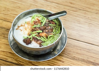 Refreshing chendol with large red beans and santan, Malaysian favorite dessert