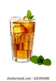Refreshing cocktail with coke and mint