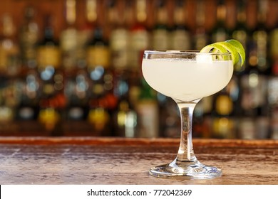 Refreshing cocktail Daiquiri with rum, lime juice and sugar. Traditional Cuban drinks