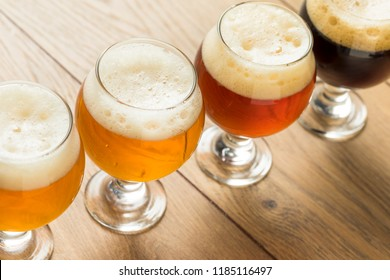 Refreshing Cold Beer Flight with Lager IPA and Porter
