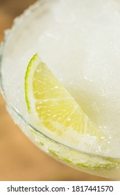 Refreshing Cold Boozy Frozen Tequila Margarita with Salt and Lime
