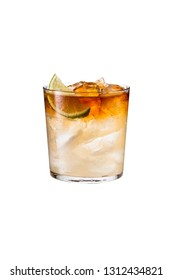 Refreshing Dark and Stormy Cocktail on White with a Clipping Path