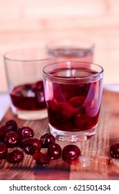 Refreshing drink with cherries