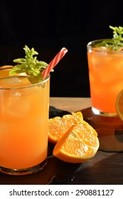 refreshing drink orange and mint with a little vodka