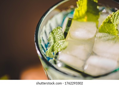 Refreshing drink with peppermint and cucumber. Refreshing summer drink.