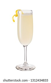 Refreshing French 75 Cocktail on White with a Clipping Path