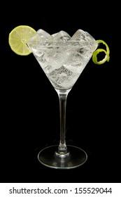 refreshing gin tonic on black background