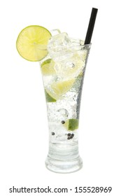 refreshing gin and tonic on white background