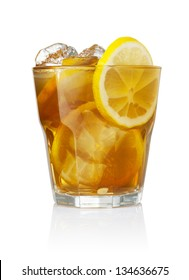 Refreshing glass of iced tea and lemon