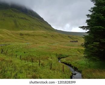 Refreshing green scenery in Gleniff horseshoe drive, a rural road in Sligo, Ireland.