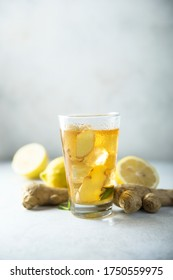 Refreshing homemade ice tea with ginger