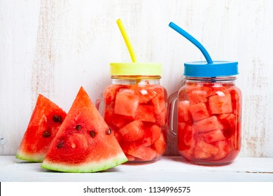 Refreshing ice cold water with watermelon. Concept of diet.  Diet for weight loss.
