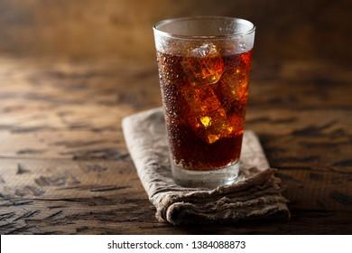 Refreshing iced soda in glass
