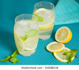 Refreshing lemonade with mint leaves